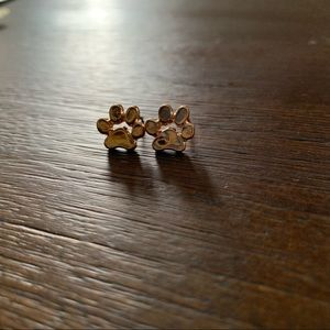 Gold Paw Print Stud Earring